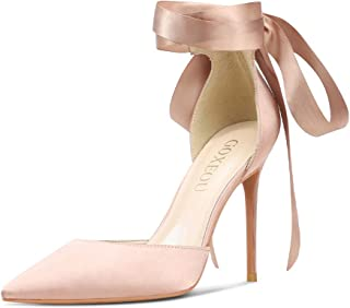 GOXEOU Satin Strappy Pumps D'Orsay Pointed Closed Toe Lace Up High Heels Dress Party Wedding Bridal Stiletto Shoes for Women - 4inch