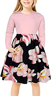 GORLYA Girl's Short Sleeve Patchwork Floral Print Vintage Style Puffy Swing Casual Party Dress with Pockets for 4-12 Years