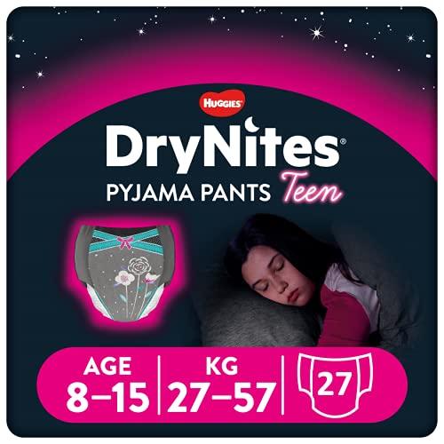 Huggies DryNites hochabsorbierende Nachtwindeln bei Bettnässen, für Mädchen 8-15 Jahre, 9 x Windel-Pants