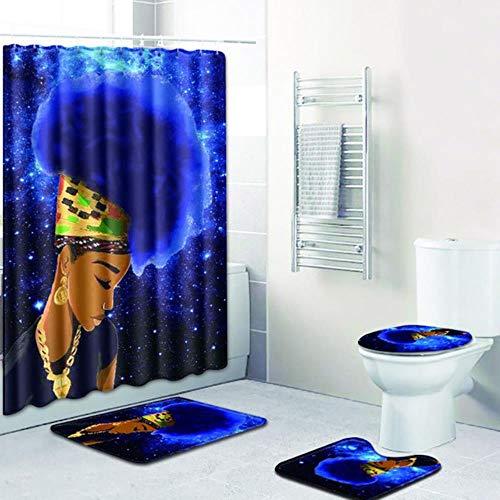CDFD Afrikaanse Vrouw Digitaal Afdrukken Douchegordijn 4-delig Tapijt Cover Wc-deksel Badmat Pad Set Badkamer met 12 haken, FZN0014
