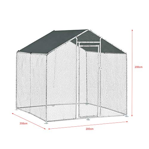 Pro-Tec Freilaufgehege Freigehege 2x2x2m Tierlaufstall mit Sonnenschutz Kleintierstall Hühnerstall Hühnerkäfig Voliere - 2