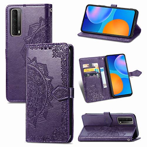 TOPOFU Huawei P Smart 2021 Hülle,Mandala Muster Flip Lederhülle PU Magnetische Wallet Tasche mit Ständer Kartensteckplätze Protective Hülle für Huawei P Smart 2021-Lila