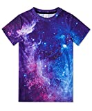 uideazone Galaxy T-Shirt for Boys Girls Unisex Casual 3D Printed Graphic Tee Shirt Casual Short Sleeve Crew Neck Shirt for Summer 9-12 Years