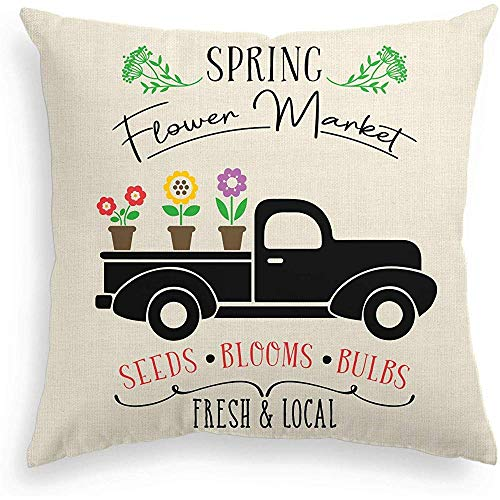 Mesllings Spring Flower Market Pillow Cover Truck Sunflower Farmhouse Throw Pillowcase, 50x50cm Easter Cute Cushion Protector for Couch