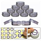 JOYWEE Aluminum Tin Jars, Cosmetic Sample Metal Tins Empty Container Bulk, Round Pot Screw Cap Lid, Small Ounce for Candle, Lip Balm, Salve, Make Up, Eye Shadow, Powder (24 Pack.5 Oz/15ml)