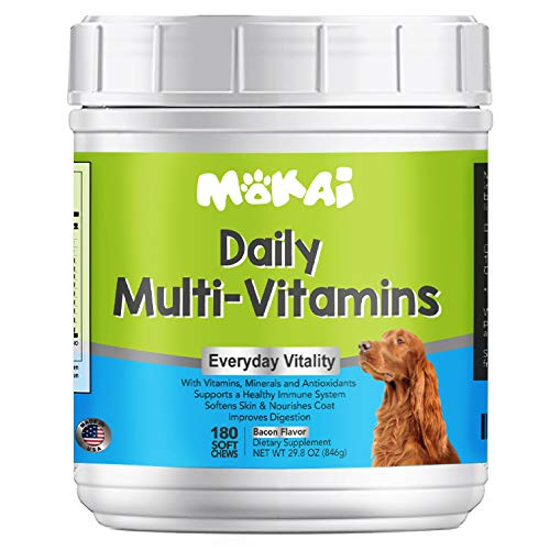 MOKAI Daily Multivitamins for Dogs of All Ages | Natural Dog Vitamins and Supplements for a Strong Immune System and Healthy Nervous System with Minerals and Antioxidants - 180 Chewable Treats