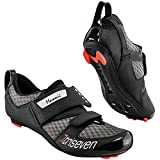 Triseven Premium Nylon Triathlon Cycling Shoes | Lightweight, Unisex & Fiberglass Sole [Black] (USA 6, EU 38)