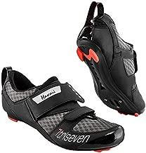 Triseven Premium Nylon Triathlon Cycling Shoes | Lightweight, Unisex & Fiberglass Sole [Black] (USA 11.5, EU 45)