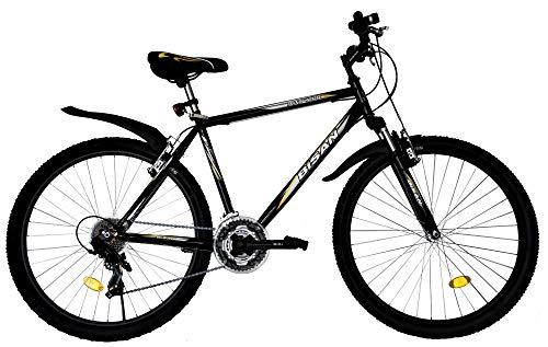 T&Y Trade 26 Zoll Kinder Jugend Mädchen Herren Jungen Damen MTB Fahrrad Mountainbike FEDERGABEL JUGENDFAHRRAD KINDERFAHRRAD Bike Rad 21 Gang Beleuchtung STVO Schwarz Gelb 4200