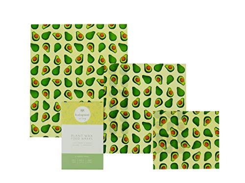 Vegane Wachstücher/Wachspapier für Lebensmittel-Kein Bienenwachs-3er Set-Wiederverwendbare Frischhaltefolie -Umweltfreundlich-Statt Alufolie-Avocadodruck - Zero Waste - Nachhaltiges Geschenk