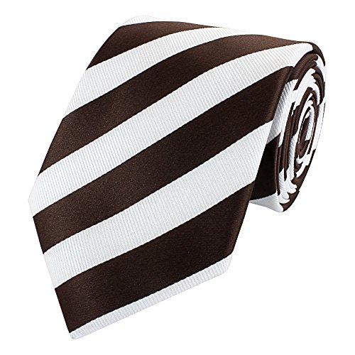 Fabio Farini - Cravate d'homme élégamment rayée pour le mariage, la confirmation, le bal en 6 ou 8 cm au choix blanc brun foncé noir café classique (8