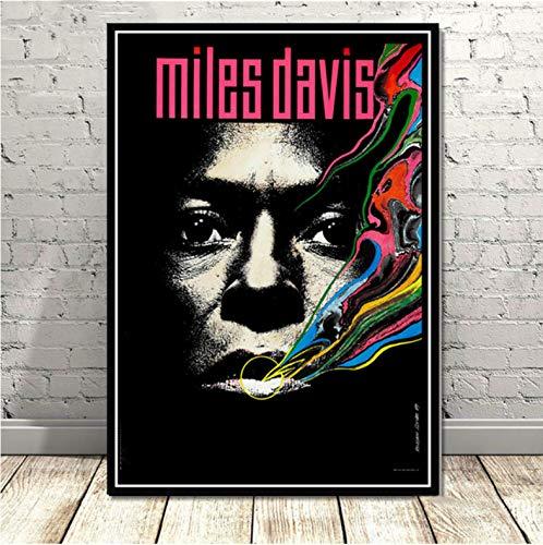 mohanshop Miles Davis Poster Art Von Blue Jazz Musikalbum Poster Wandkunst Bild Poster Und Drucke Leinwand Malerei Für Raum Home Decor 50X70Cm Ohne Rahmen