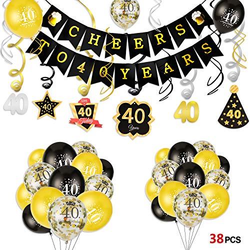 HOWAF 40 ° Kit Decorazioni per la Festa di Compleanno, Striscione Happy Birthday, Decorazioni Pendenti di Compleanno 40 Anni Palloncini in Lattice Palloncini coriandoli Oro Nero