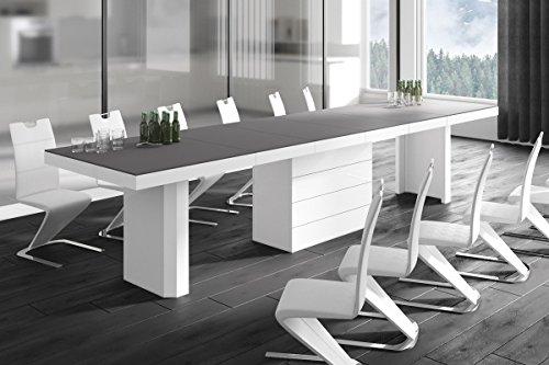 HU Design Konferenztisch HE-777 XXL ausziehbar in 7 Farben erhältlich 140 bis 332 cm (Anthrazit Matt/Weiß Hochglanz Kombination)