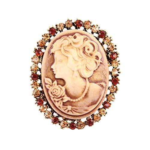 FENICAL Broche de Camafeo Vintage de Cabeza de Reina con Diamantes de Imitación Decoraciones de Ropas Regalo Ideal para Mujeres Niñas para Navidad Fiestas (Dorado)