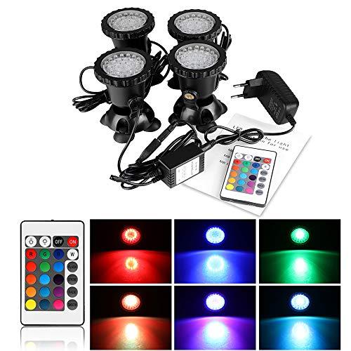 ALLOMN Aquarium Spot Light, 36 LED Unterwasser Spotlight Fernbedienung IP68 wasserdicht Aquarium Pond Aquarium Beleuchtung 15 Statisch 4 Dynamische Effekte mit EU Stecker (Set mit 4 Leuchten)