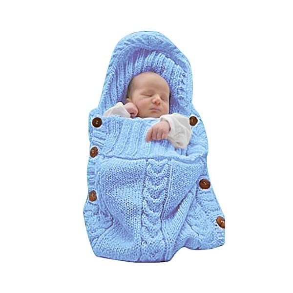 XMWEALTHY Newborn Baby Wrap Swaddle Blanket Knit Sleeping Bag Receiving Blankets Stroller Wrap for Baby (0-6 Month)