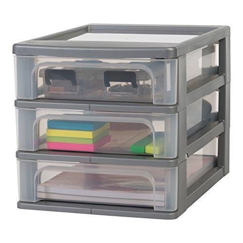 Iris Ohyama, Schubladenbox / Schubladencontainer - Organizer Chest OCH-2030 - plastik, silber, 3 x 4 L, L35,5 x B26 x H25,5 cm