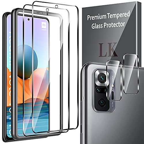 LK Protector de Pantalla Compatible con Xiaomi Redmi Note 10 Pro/ Note 10 Pro Max,2 Pack Cristal Templado y 2 Pack Protector de lente de Camara, Doble Proteccion, Kit de Instalación Incluido