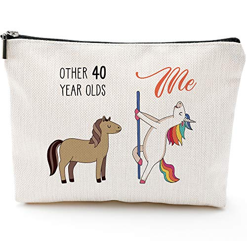 40th Birthday Gifts for Women - 1980 Birthday Gifts for Women, 40 Years Old Birthday Gifts Makeup Bag for Mom, Wife, Friend, Sister, Her, Colleague, Coworker
