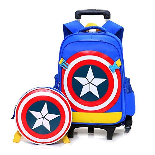 YeMao Super Hero Sei Ruote Zaino Set per Bambini, elementare Studenti Trolley Scuola Caso Borse Zaino Ragazzo in Tessuto Oxford Vacanze,Captain America A-43 * 19 * 32CM