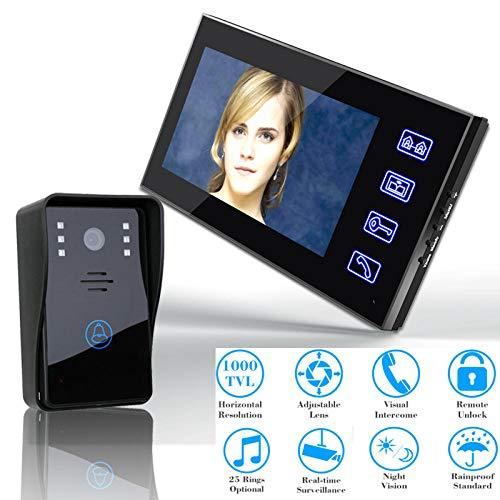 DYWLQ Timbre de video, 7 pulgadas Reconocimiento de huellas dactilares Contraseña RFID Videoportero Intercomunicador Cámara de vigilancia para el hogar a prueba de agua, Conversación bidireccional