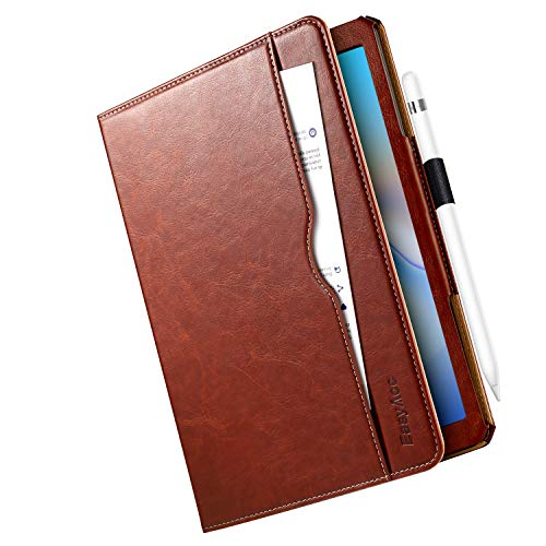 EasyAcc Case for Samsung Galaxy Tab A 10.5 2018, [360 Degree Rotating/ 100% PU Leather Made by Hand/No Plastic Content] and Document Card Slots, with Auto Wake/Sleep, Durable to Use - Brown