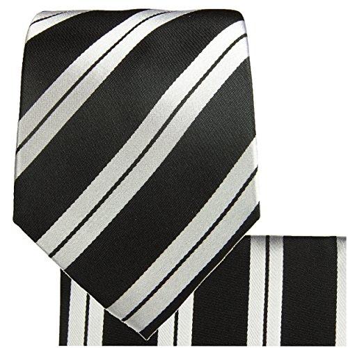 Cravate homme noire argenté rayé ensemble de cravate 3 Pièces ( longueur 165cm )