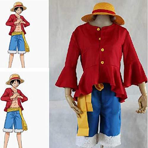 SHIXUE Cosplay Disfraz One Piece Monkey D. Luffy Cosplay Trajes Anime Cosplay Halloween Incluyendo Ropa + Pantalones + Sombrero,M