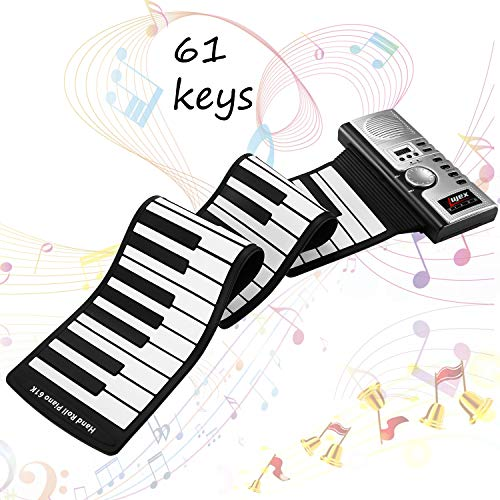 Lujex Keyboard Klavier Faltbare 61 Tasten, Keyboard Klavier Kinder Lernen 61 Tasten Flexible Soft Electronic Digital Midi Roll up Keyboard Piano (Schwarz 64 Tasten)