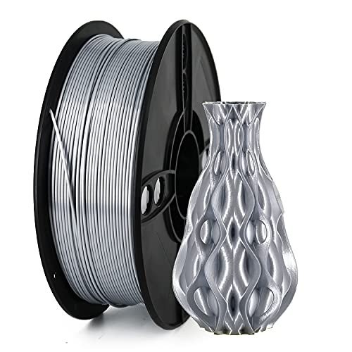 Veeology Silk PLA filamento 1,75 mm per stampa 3D, 1 kg, materiale per stampante 3D, precisione dimensionale +/- 0,05 mm, adatto alla maggior parte delle stampanti FDM (argento seta)