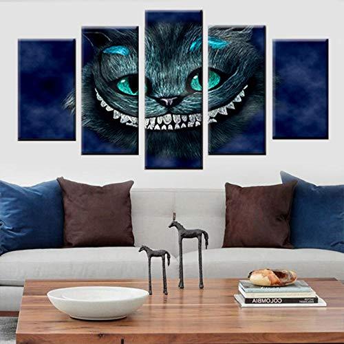 QianLei Pintura en Lienzo Impresión en HD 5 Paneles Gato Alicia en el país de Las Maravillas póster de Dibujos Animados -40x60 40x80 40x100cm sin Marco