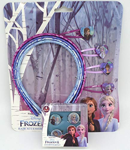 TDL Disney Frozen Set Regalo 4 Anelli + 4 Cerchietti + 4 Forcine per Capelli - Licenza Ufficiale - 4 Squillares + 4 Head Bands + 4 Hair Clips - Gift Bundle