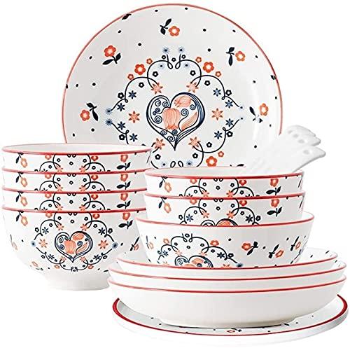 ZRB Juego de vajilla clásica, juego de vajilla de cerámica, tazón/plato/cuchara, juegos de cena, juego de combinación de porcelana de estilo japonés, platos 16 piezas