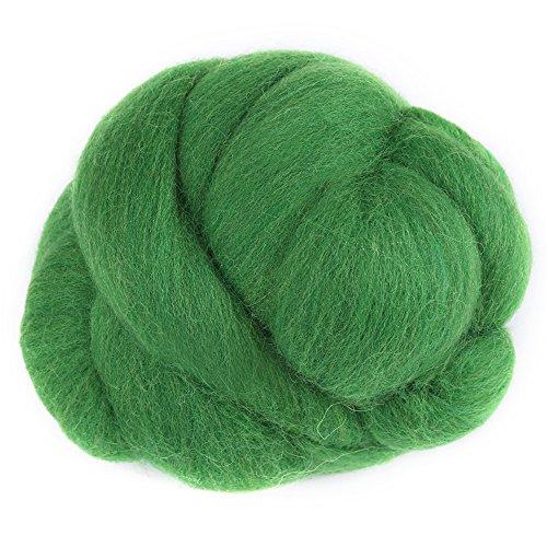 8Farben 55g farbige Nadel Filzen Wolle Roving Spinnen Nähen Trimmen Handarbeitsmaterial(Grün)