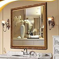 浴室用化粧鏡 メイクアップミラー 洋風バスルームミラー、壁掛け長方形ミラー、化粧鏡、化粧台、シェービングミラー、ファッション浴室装飾(500 * 700/600 * 800/700 * 900MM) (Color : A, Size : 700*900MM)