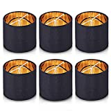 Wellmet Chandelier Shades,ONLY for Candle Bulbs,Clip-on Drum Lamp Shades,Set of 6, 5.5'x5.5'x 5', Black-Gold
