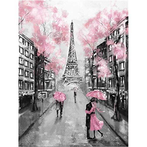 DIY Malen nach Zahlen für Erwachsene Anfänger, Romantische Straße, Eiffelturm Paris Romantik...