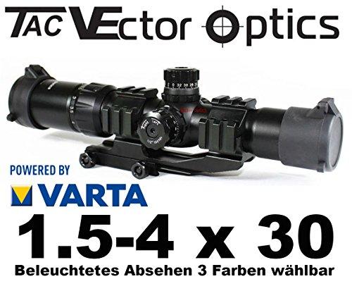 Vector Optics Taktisches Zielfernrohr Mustang mit Schott Germany Gläsern 1.5-4 x 30 inkl. Picatinny Montage und Deckel