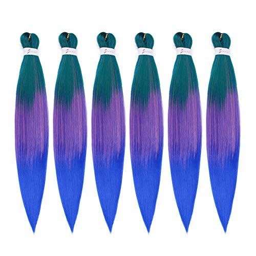 26Inch EZ Braids Professional Pre Streched Braiding Hair Hot Water Setting Synthetic Fiber Easy Braids Hair Ombre Colors Crochet Braids Hair Extensions 6Packs/Lot (Green/Purple/Blue)