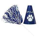 Anderson's Blue and White Poms and Paw Pride Megaphone Set, School Spirit, 12 Pieces