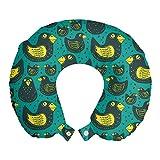 ABAKUHAUS Animali Cuscino da Viaggio, Floating Ducks Patterns, Accessorio in Schiuma di Memoria per Viaggio, 30 cm x 30 cm, Scuro Seafoam e senape