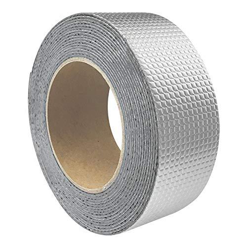 Keleily Aluminiumklebeband Selbstklebend 10M x 5CM Aluminiumklebeband Hitzebeständiges Klebeband Isolierung Wasserdicht für die Reparatur von Boden, Wand, Dachkanal, Silber