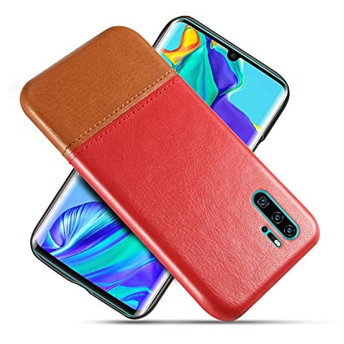 Suhctup Compatible con Huawei Honor 9 Lite Funda Cuero Calidad Ultrafina Estilosa Simple Empalme Estilo Carcasa de Piel Durable Antigolpes Antideslizante Protección Caso(Rojo marrón)