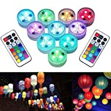 Paper Lantern Lights with Remote Control Multicolor Waterproof Hook LED Submersible Lights for Lantern Balloon Ball Events Party Decoration