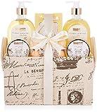 BRUBAKER Cosmetics Set de Baño y Ducha'Vanilla Golden Paradies'- Fragancia Rosas de Vainilla y Menta - Set de regalo de 12 piezas en estuche vintage con asa.