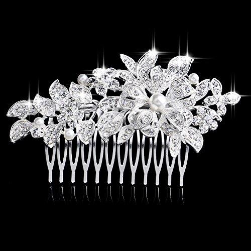 Miya® Elégant Peigne de cheveux de luxe avec fleurs de cristal Argenté et Blanc Perle, mariage bijoux cheveux bijoux