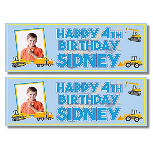 2 Personalised Photo Birthday Banners - Digger Dumper Truck Design - Any Name, Any Age & Photo (Approx 3ft x 1ft)