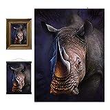3D LiveLife Lenticular Cuadros Decoración - Rinoceronte blanco de Deluxebase. Poster 3D sin marco del safari. Obra de arte original con licencia del reconocido artista, Jerry LoFaro