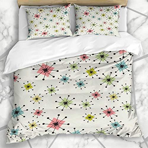 877 ZAEVO Bettbezug-Sets Muster Vintage Atomic Stars Retrostylized Retro Kitsch Bumerangs Mikrofaser Bettwäsche mit 2 Pillow Shams